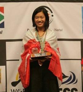 WFM Qiyu Zhou on podium, WYCC 2014