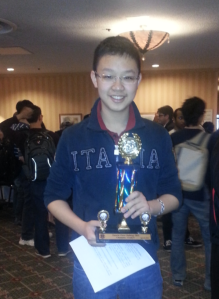 Joey Zhong, Grade 9 Champion of the OCC 2015.